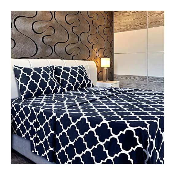 Utopia Bedding Printed Bed Sheet Set - 1 Fitted Sheet, 1 Flat Sheet and 2 Pillowcases - Soft Brushed Microfiber Fabric - Shrinkage and Fade Resistant (Queen, Navy Quatrefoil with White Pattern) - BED SHEET SET - Includes 1 flat sheet measuring 90 by 102 inches with a 4 inches self-hem; 1 fitted sheet measuring 60 by 80 inches with a 15 inches box for over sized bedding and 2 pillowcases measuring 20 by 30 inches each BRUSHED MICROFIBER - Polyester brushed microfiber fabric is twice as fine as silk that gives a soft feel and maximum comfort SOFT AND COMFORTABLE - Soft and comfortable material gives you the best of sleeping experience - sheet-sets, bedroom-sheets-comforters, bedroom - 61WMwd9DhOL. SS570  -