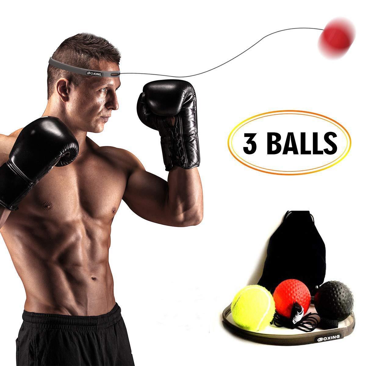Boxtraining Boxtraining Ball 3 Boxreflexb/älle mit Schwierigkeitsgrad und Stirnband,Kampf Dekompression Vent Ball Reflex Training Koordinationsf/ähigkeit Geschwindigkeit Pr/äzision Dekompression