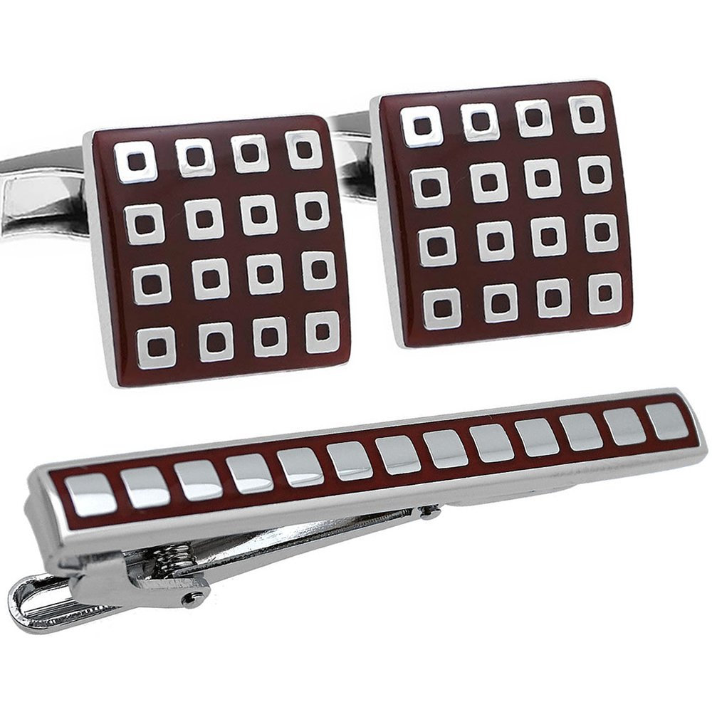 Burgundy & Silver Check Cufflinks and Tie Clip Set