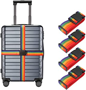 4 Pack Luggage Straps, Adjustable Suitcase Belts, Heavy Duty Non-Slip Travel Luggage Straps, TSA Approved with Quick-Release Buckle Travel Accessories Bag Straps(Rainbow)