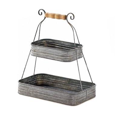 Smart Living Company Fruit, Rustic Tin Storage Organizer Bedroom 2-Tier Hanging Basket