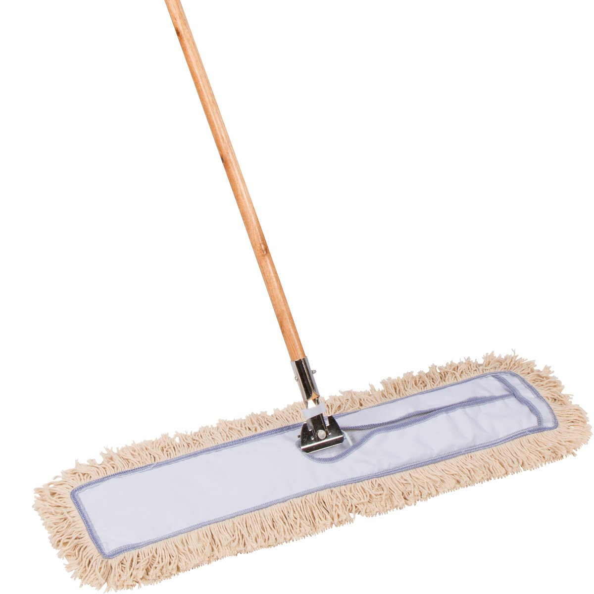 AMR Market 30 inch Commercial Strength Cotton Dust Mop with Solid Wood Handle and Metal Frame. 30'' X 5'' Wide Mop Head with Cut Ends - Hardwood Floor Broom