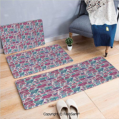 (FashSam 3 Piece Flannel Bath Carpet Non Slip Doodle Peonies Tulips Berries Bugs Botanic Artistic Display Front Door Mats Rugs for Home(W15.7xL23.6 by W19.6xL31.5 by W19.6xL59))