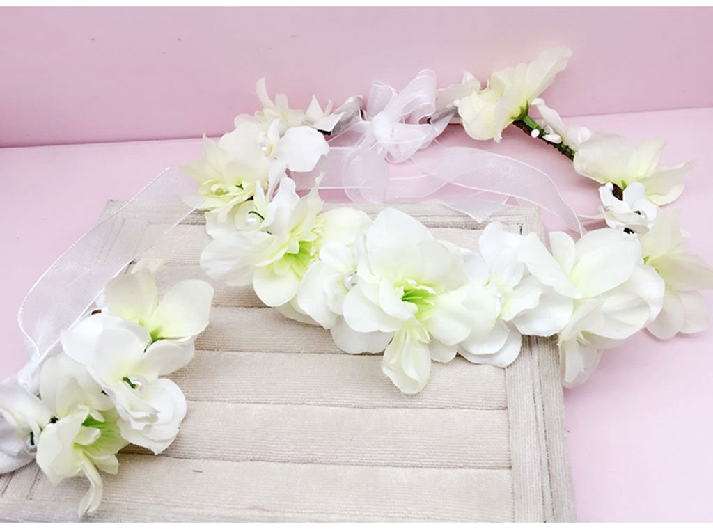 Wreath Flower, Headband Flower Garland Handmade Wedding Bride Party Ribbon Headband Wristband Hairband White (Color : A)