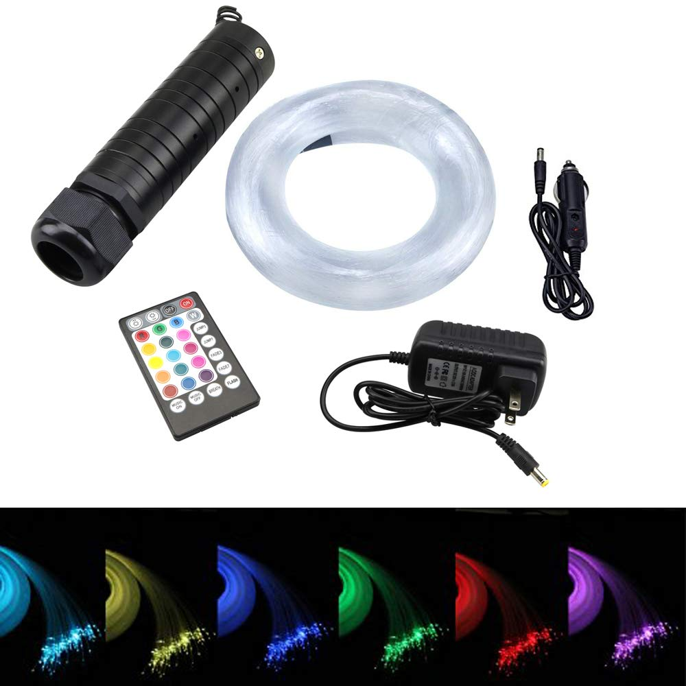 AZIMOM 6W Music Control RGB LED Fiber Optic Star Ceiling Light Kit + RF 28 Key Remote, Mix 295pcs 9.8ft Optic Fiber Lighting for Car & Home Decoration