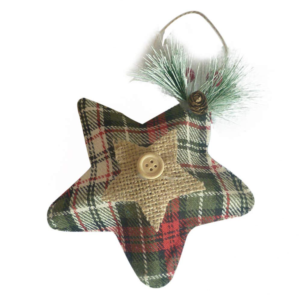 Midress 2018 Newest Christmas Tree Ornaments, Christmas Tree Top Linen Stars Pendant Xmas Decoration Ornament Treetop Topper Home Table Party Decor Holiday Outdoor Decorations for Christmas Party (C)