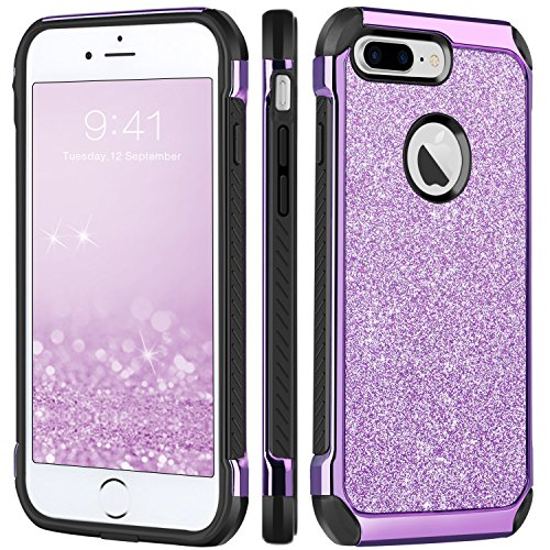 BENTOBEN Case for iPhone 7 Plus, Glitter Bling Sparkly Hybrid Slim Hard PC Cover Laminated with Luxury Sleek Shiny Faux Leather Shockproof Soft Bumper Protective Phone Case for Girls Women, Purple