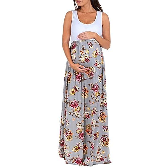 Cinnamou Ropa Premamá Verano,Vestido de Maternidad Sin Mangas de Cuello Redondo con Flores Vestir