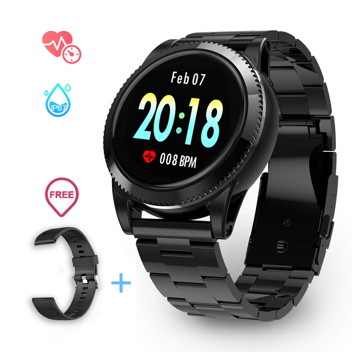 Smart Watch for Men Women, GOKOO Sports Smartwatch Fitness Tracker with Pedometer Notifications Music Control Blood Pressure Heart Rate Monitor Camera Touch Screen Watch for Android Phones iPhones