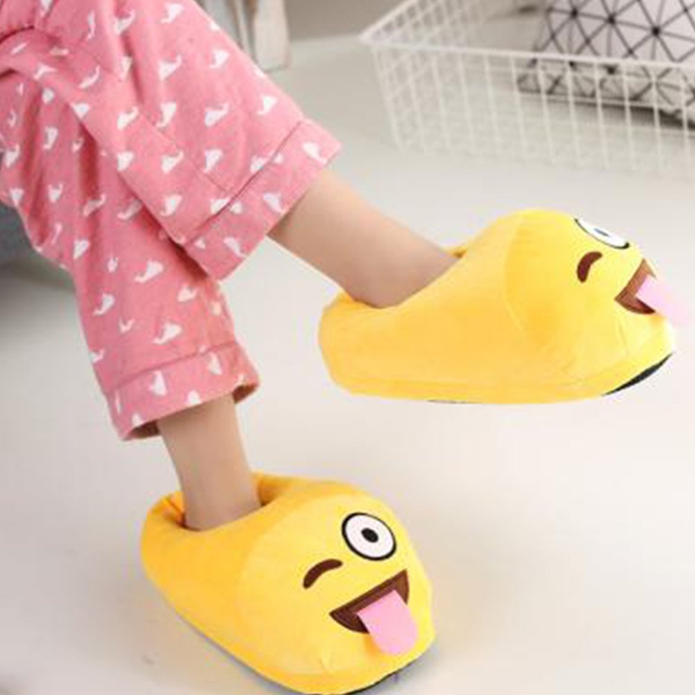 Xiujanet Unisex Emoji Cute Cartoon Slippers Warm Stuffed Funny Slippers Household Indoor (Yellow 2)