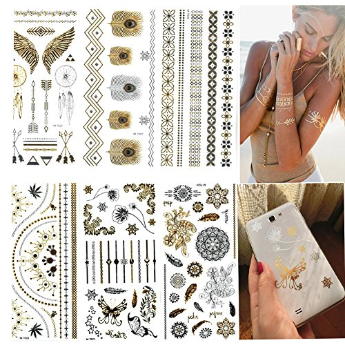[Premium Metallic Tattoos- 6 Sheets Temporary Tattoos for Girls 100+ Fake Tattoos, Beautiful Stickers for Body and Cellphones] (Carry On Films Costumes)