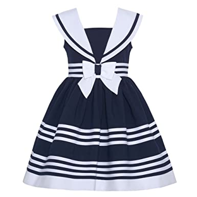 Amazon.com: Bonnie Jean Girls Easter White / Navy Nautical Sailor ...