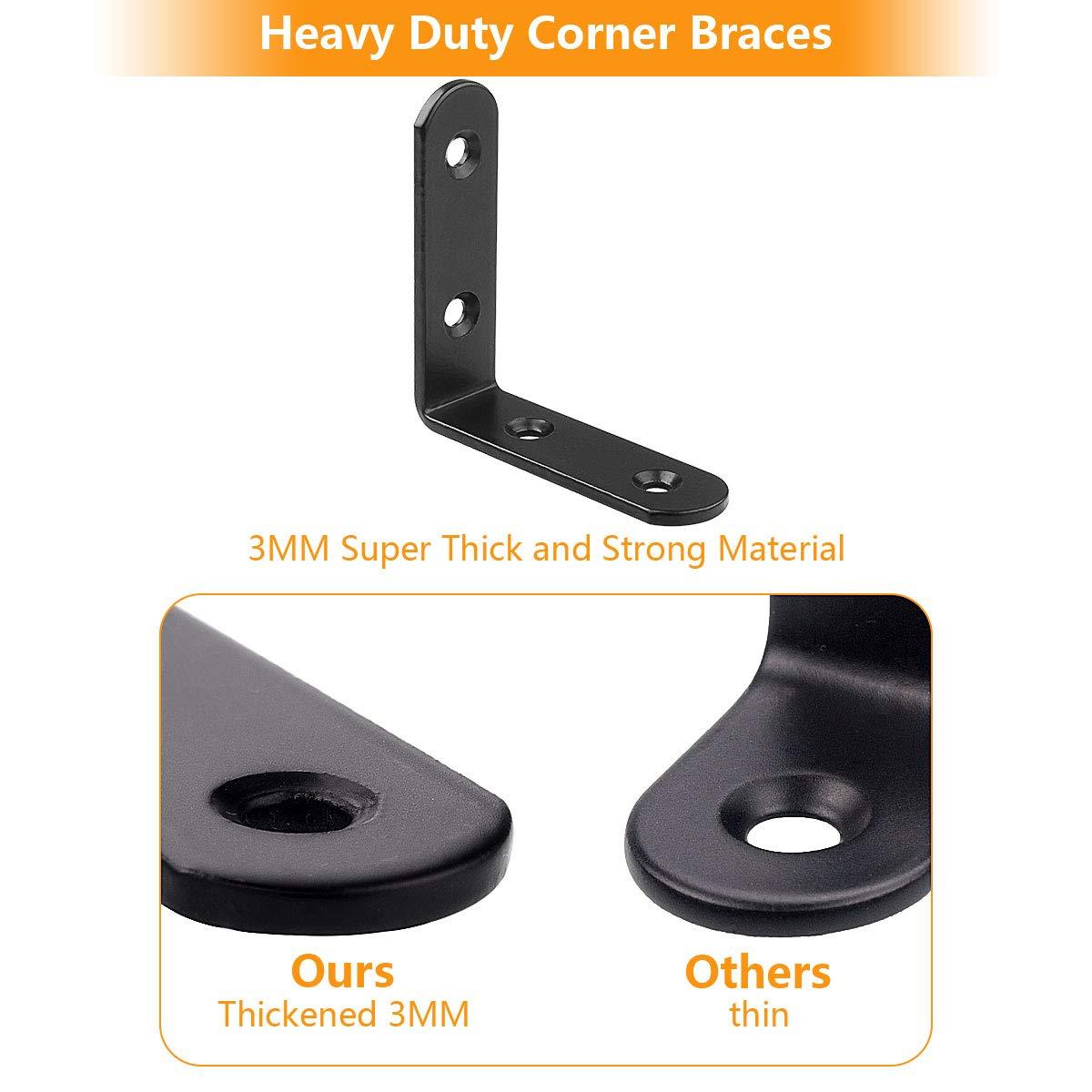 80mm x 80mm x 20mm 20 Pack Stainless Steel 90 Degree Angle L Shaped Bracket,Corner Brace Joint Bracket Fastener Black Tone 6 Holes Round End Heavy Duty Metal