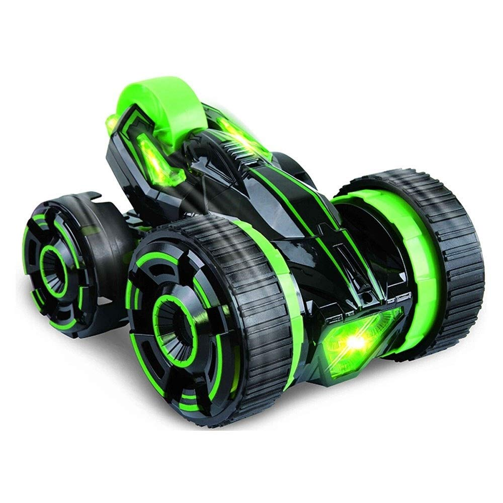TBFEI Double Sided Rotating Tumbling 360 Degree Flips,RC Truck with LED Headlights Children Remote Control Toy Charging Stunt Dump Truck RC Car Remote Control Stunt Car (Color : Green)