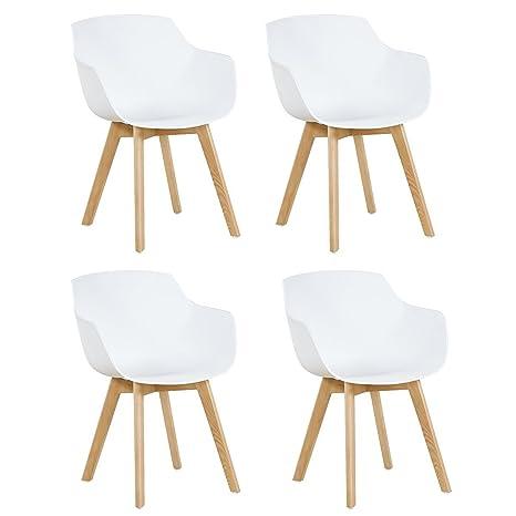 DORAFAIR Pack de 4 Sillón Tower Blanca Silla de Comedor Silla Escandinava,Pata Madera de Haya, Estilo Nórdico - Blanco