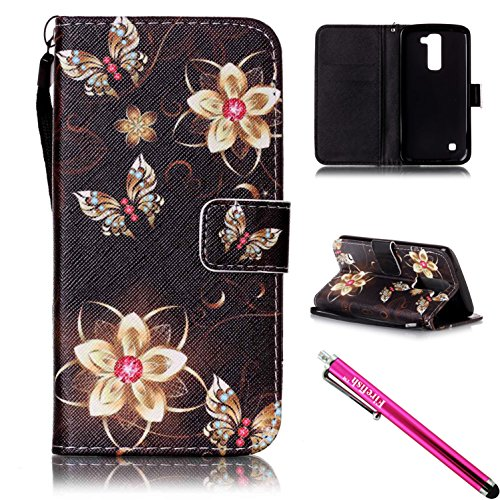 LG K7 / LG Tribute 5 Case, Firefish [Kickstand] [Card/Cash Slots] Lightweight Premium PU Leather Wallet Flip Cover with Wrist Strap for LG K7 / LG Tribute 5-Butterfly