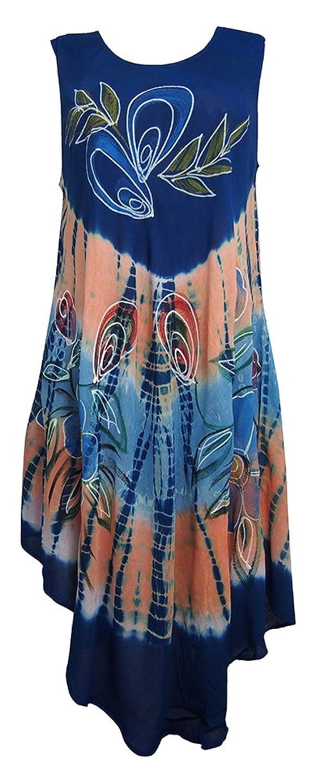 Damen Regenschirm Cut Einheitsgröße Blumendruck - Sleeveless Strand-Sommer Umstandskleid