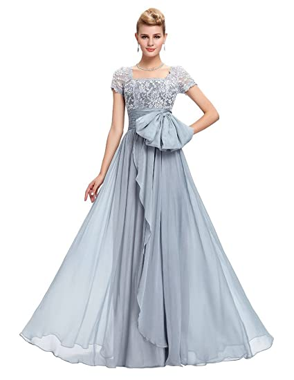 Vimans® Womens Floor Length Lace Light Grey Evening Prom Dress, ...