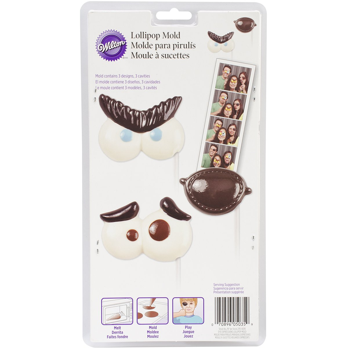 Wilton 0264484 Expressions Lolli Candy Mould Plastic White