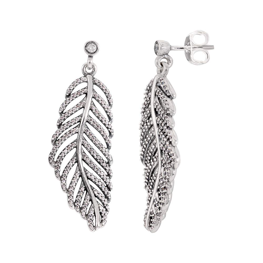 27cd07c24 Amazon.com: Pandora Light As A Feather Silver Earrings With Clear Cubic  Zirconia 290584CZ: Jewelry