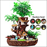 Forest Fairy Garden Miniature Stump Flower Pot Sculpture Planter Multilayer Decorative Resin Planter for Succulents