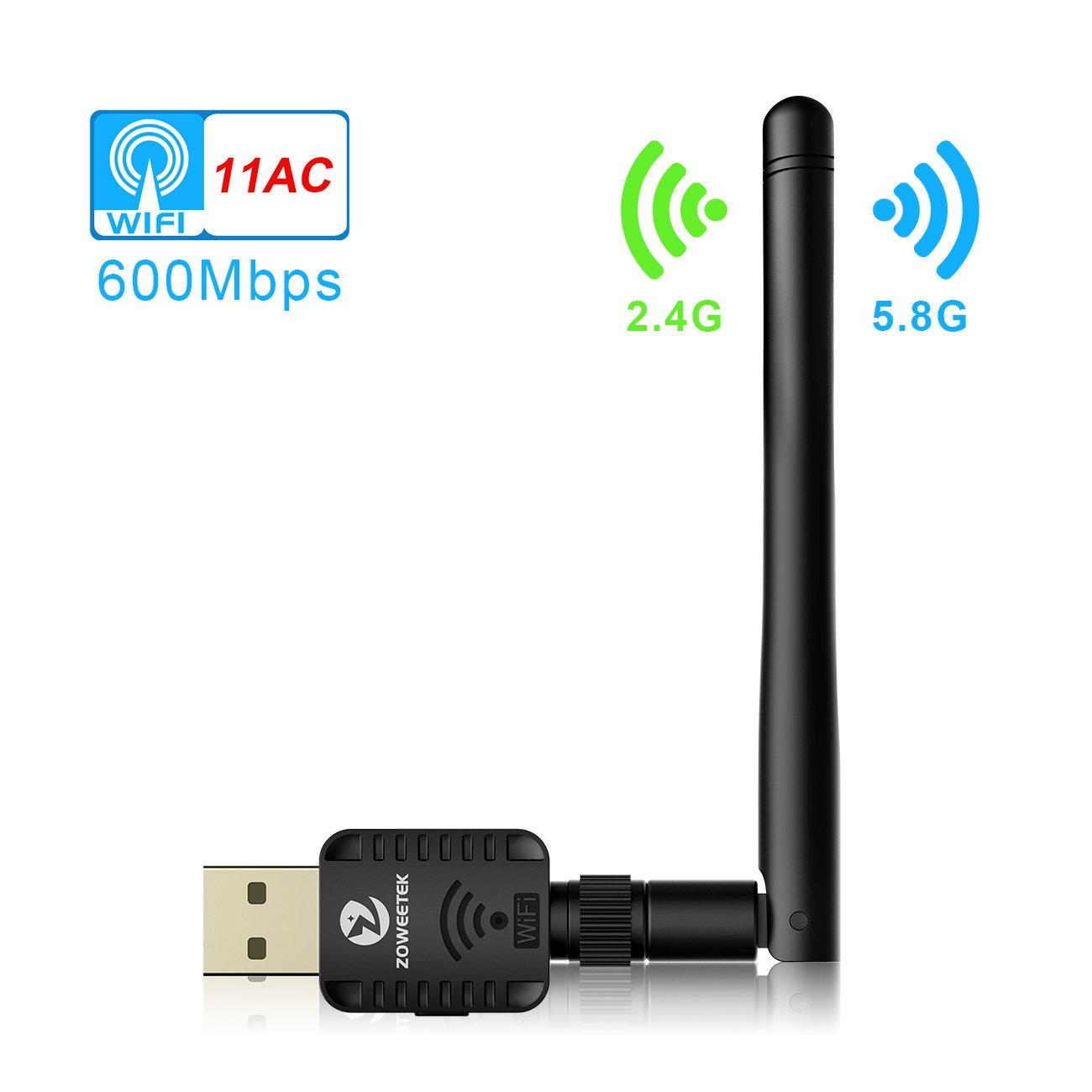 ZOWEETEK® Clé USB WiFi 600Mbps Mini Wi-FI Dongles Adapteur Réseau sans Fil Antenne Bande Jusqu'à 5GHz 433Mbps 2.4GHz 150Mbps Windows XP/Vista/7/8/8.1/10 (32/64bits)/Mac(10.6-10.13)
