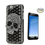 STENES iPhone 8 Case - 3D Handmade Luxury Punk Rivet Big Skull Sparkle Rhinestone Design Cover Bling Case For iPhone 7 / iPhone 8 With Screen Protector & Retro Bowknot Dust Plug - Black