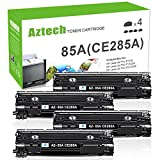 AZTECH 4 Pack 1,600 Pages Yield Black Compatible Toner Cartridge Replaces CE285A CE285 85A Used for HP Laserjet Pro P1102 HP Laserjet P1102W P1100 M1212NF MFP M1217NFW MFP MF3010 M1210 M1132 Printer