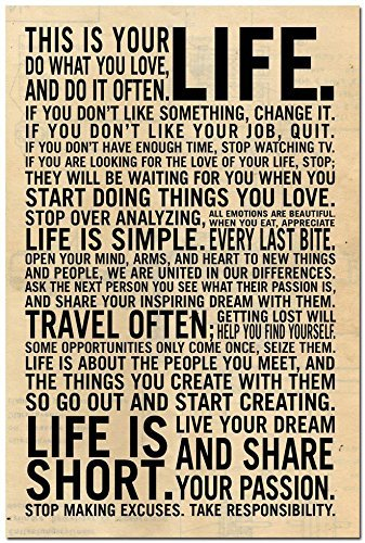 Amazon Makeuseof This Is Your Life Motivational Awesome This Is Your Life Quote Poster