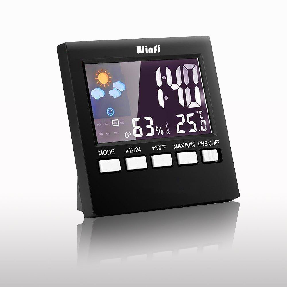 Winfi Digital Indoor Weather Thermometer, Weather Station, Weather Channel Thermometer, Temperature and Humidity Monitor with Alarm Clock, Time Date and Night Lighting LCD Screen Displaying,Black