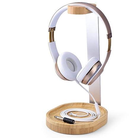 Headphone Stand Designs : Amazon avantree universal wooden aluminum headphone stand