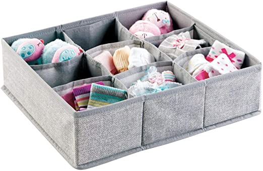 Nursery Set of 8 Divided 2 Compartment Organizer Herringbone Print mDesign Soft Fabric Dresser Drawer and Closet Storage Organizer for Child//Kids Room Gray
