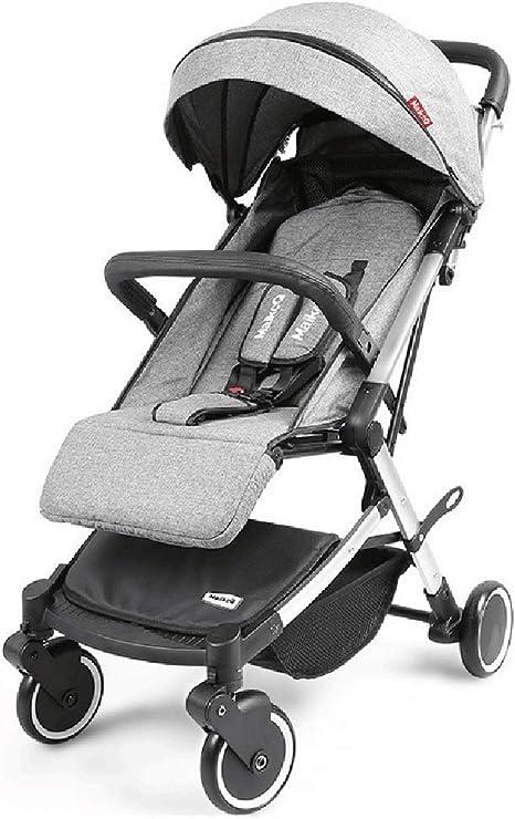 Opinión sobre WWKDM El Cochecito de bebé Puede reclinarse para Sentarse con Amortiguador de Choque en Las Cuatro Ruedas Cochecito de bebé Plegable de Paisaje Alto, Azul