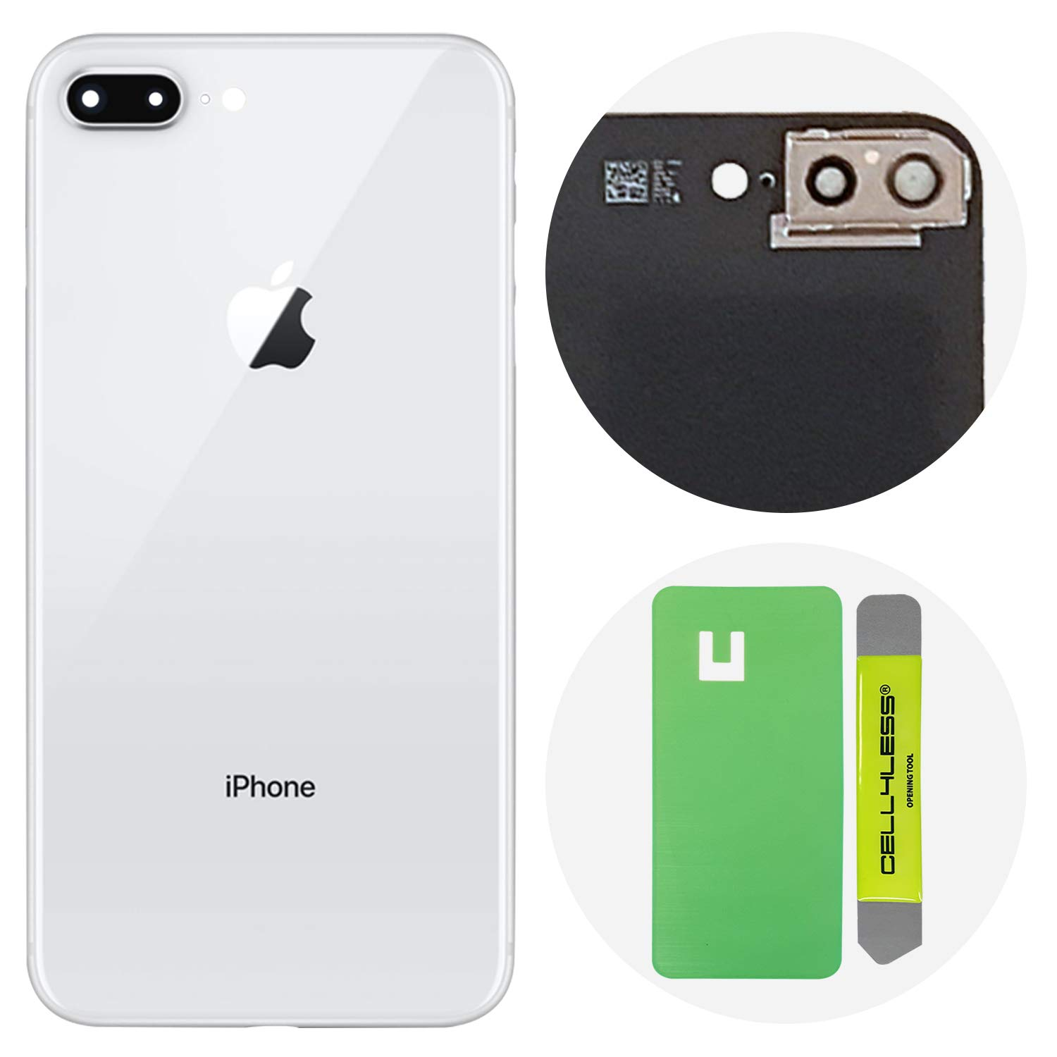 Cell4less Back Glass Cover OEM Battery Door Replacement w/Adhesive, Installed Camera Frame w/Lens & Removal Tool for Apple iPhone 8 Plus (Silver 8+)