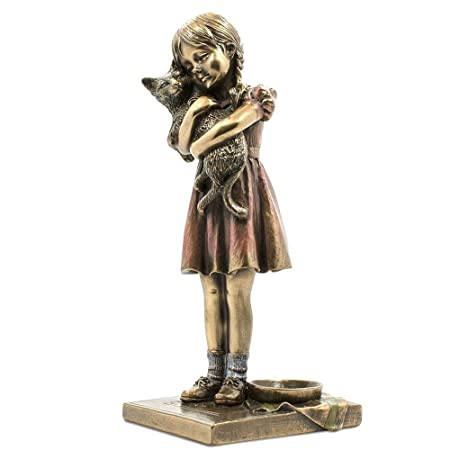 6.25 Inch Burnished Figurine Little Girl holding Pet Cat Bronze Hued