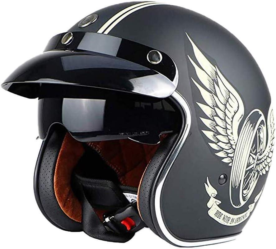 Casco de Cara Abierta Casco de Motocicleta Casco de Moto Retro con Visera Sol Motocicleta de la Vendimia Medio Casco de Bicicleta eléctrica, Aprobado por Dot/ECE para Hombres