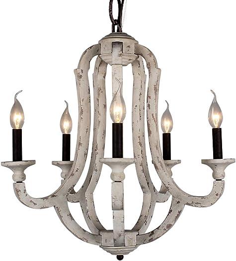 DOCHEER Vintage Wooden Chandelier Pendant Lamp 10137-5D 5-Candle Holder Lights Distressed White Wood Metal Chandeliers Lighting