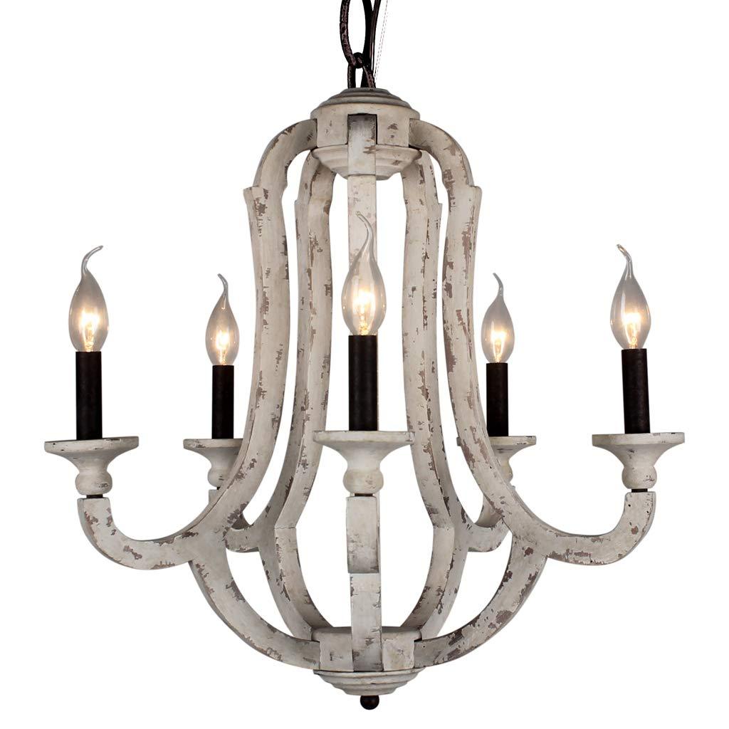 DOCHEER Vintage Wooden Chandelier 5-Candle Holder Lights Distressed White Wood Metal Chandeliers 22.5'' Wide for Dining Room, Living Room, Bedroom, Entryways, Foyer