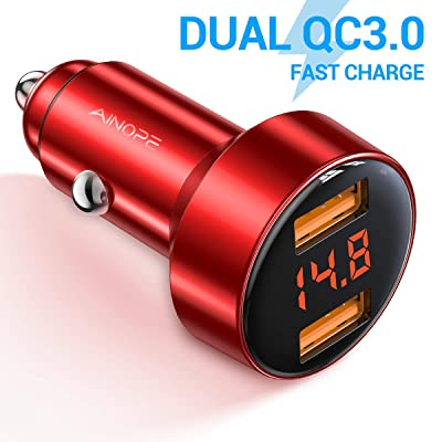 Car Charger Adapter, AINOPE Dual QC3.0 Port 6A/36W USB Car Charger All Metal Cigarette Lighter USB Charger Voltage Display Compatible with iPhone 11/11 pro/XR/X/XS/8, Samsung Note 8/S9/S10+/S8 - Red: Home Audio & Theater