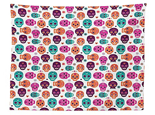 [vipsung Day Of The Dead Decor Tablecloth Dia de Los Muertos Skull Masks with Floral Style Design Print Dining Room Kitchen Rectangular Table Cover Purple Orange] (Monster High Dia De Los Muertos)