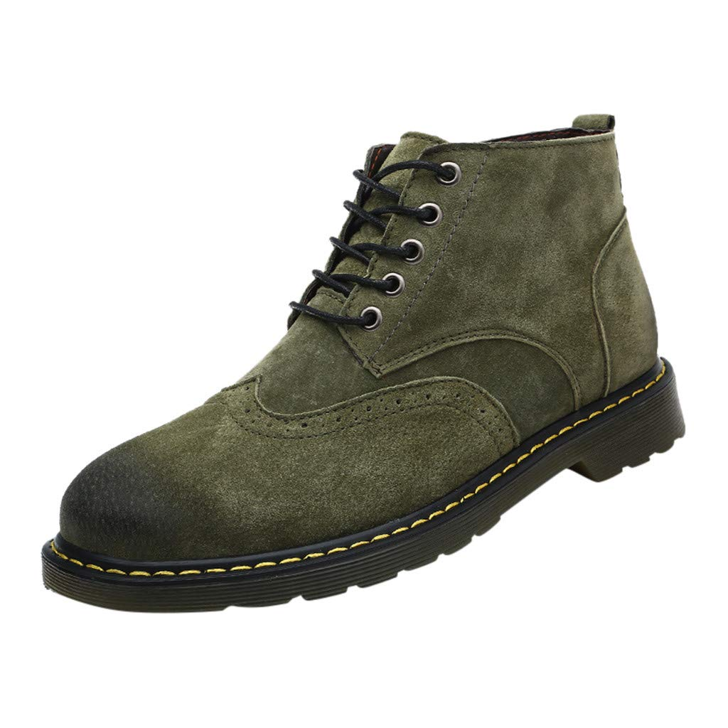 Miuye yuren Climbing Shoes Men Large Size Casual Fashion Hiking Boots Leather Formal Oxford Shoes Green by Miuye yuren-Shoe