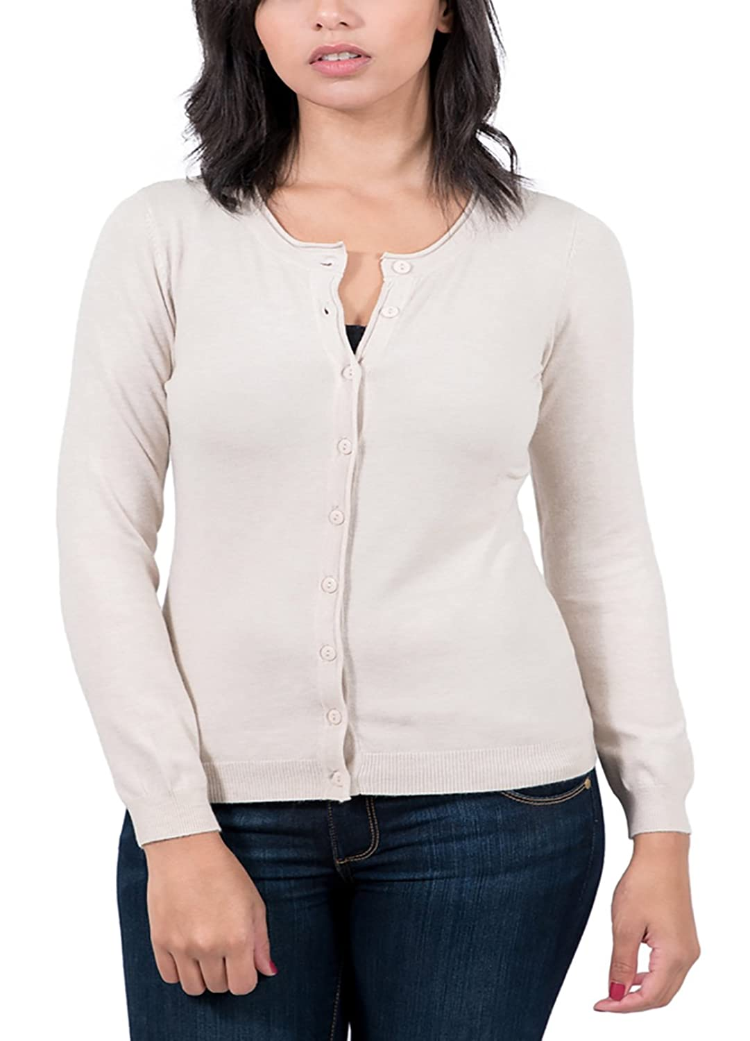 Real Cashmere Beige Cardigan Womens Sweater