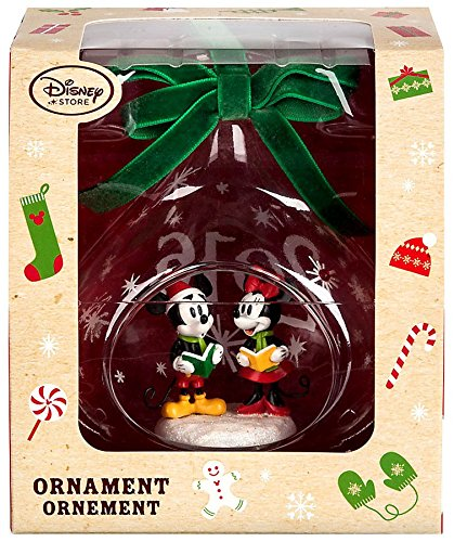 Mickey and Minnie Mouse Glass Sketchbook Ornament Holiday 2016