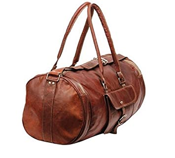 pranjals house 22-inch Round Leather Duffle Bag (Brown)  Amazon.in  Bags d2b385ca11725