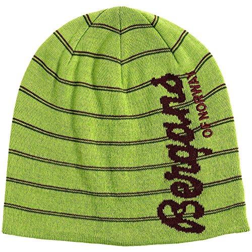 Bergans of Norway - Retro Inspired Pin Stripe Wool Blend Lined Kuling Beanie Hat (Tonal Purple Striped) (Spring Leaves/Dark Ruby - Leaf Striped Ruby