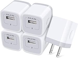 AILKIN USB Charger Wall Plug, [5Pack-1Port] Fast Charging Outlet AC Power Adapter Block Cube for iPhone, iPad, Samsung, Camera, Android or Type C Phones & Tablets Charge Multiple USB Hub Station Base
