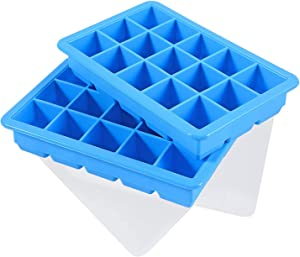 LessMo 2 PCS Ice Cube Tray, Square Ice Cube Freezing Tray Silicone with No-Spill Lids, Easy Release, Reusable, Flexible, for Chilled Drinks, Baby food, Whiskey, Cocktails and Wine, Blue
