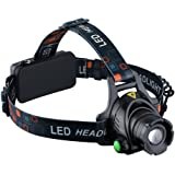 OMorc CREE T6 LED Headlamp, 1000 Lumens Waterproof Zoomable Head Torch Flashlight with Rechargeable Batteries for Camping / Fishing / Cycling / Running / Hunting