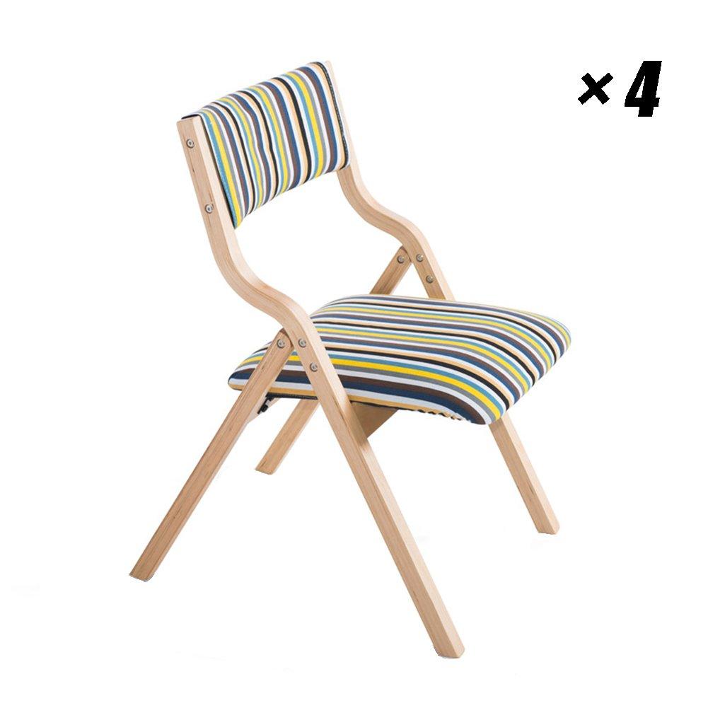 ソリッドウッドラウンジチェア折りたたみ式ダイニングチェア家庭用、キッチン、カフェ、オフィス用の最新のコンピュータシート48.5×46×78.5cm (色 : 木の色, サイズ さいず : Set of 4) B07F3C7J7T Set of 4|木の色 木の色 Set of 4