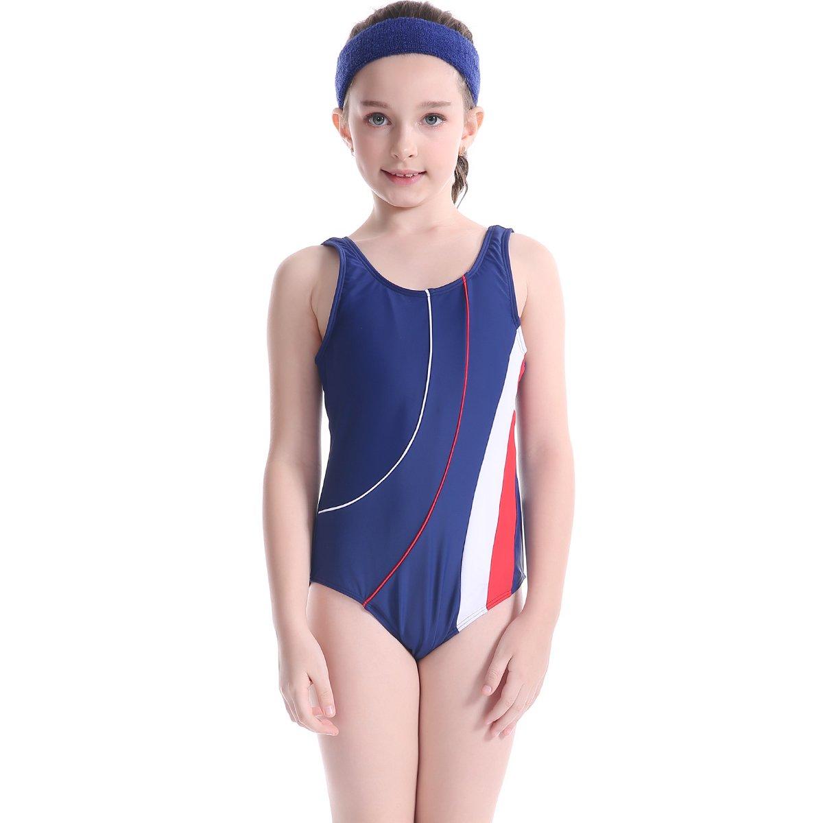TenMet Girl's Swimsuit One Piece Elastic Racer Back Anti UV Sun Protection Swimwear Monokini Bathing Suit Beachwear